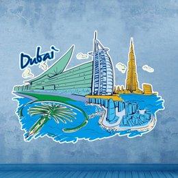 Wholesale Dubai Burj Al Arab Hotel Landmark Wall Sticker Wedding Decor Vinyl Waterproof Wall Pvc Sticker Wallpaper Decal Removable