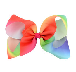 Girls Gradient Rainbow Bow Clips Kids Large Bubble Flower Barrette Ribbon Bowknot Hairpin Hair Boutique Bows Children Hair Accessory