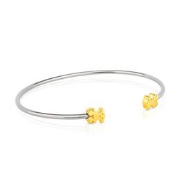 Wholesale 1pcs Open Shape Cute Animal Bears Charm Bangle Women Jewelry Bracelet High Quality Stainless Steel Gold Silver K