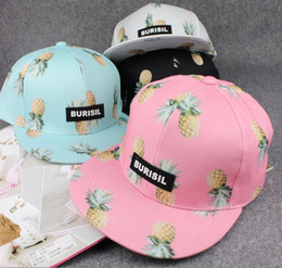 Wholesale High quality fruit banana ananas peach printing cap fashion burisil letter hip hop baseball hat brand snapback for men and women