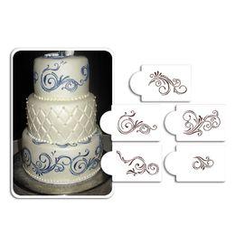 Five Scroll Cake Stencil Set,Cake Craft Stencils,Cake Border Stencils Wedding Decorating cake Mould, Fondant Decotrations ST-132