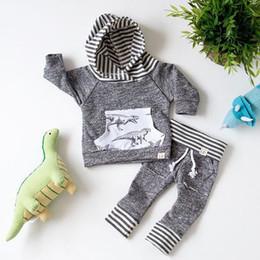Ins Infant Baby Set Boys Diasosaur Outfits Kids Stripe Hooded Tops Sweatshirt + Pants 2pcs Children Cotton Clothing Suit 13532