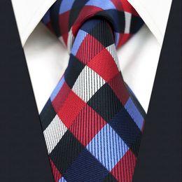 U2 Mens Ties Navy Red Checked Silk Handmade Wedding Fashion Classic Brand New Dress Men's Accessories Necktie
