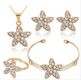 2017 new fashion diamond wedding Jewelry Sets wholesale Delicacy star flowers women and girls pearl necklaces &pendants& earrings bracelet
