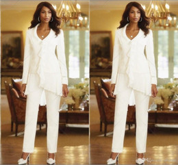 2018 Sheath Elegant Three Pieces Mothers Pant Suits Custom Made Ruffles Chiffon Mother of the Bride Gowns Long Sleeves