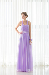 2018 New Halter Pleat Purple Long Bridesmaids Evening Party Formal Celebrity Dresses Chiffion Sexy Women Prom Fashion A Line Gowns