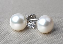 Wholesale Pure natural Freshwater Pearl earrings bright color fine texture full of temperament The best Gift for u and ur lover