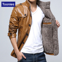 Wholesale 2016 Men s Winter Leather Jacket XL XL Motorcycle Jackets Cashmere Faux Leather Male Thick Cool Outwear Overcoats jaqueta de couro