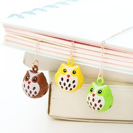 Wholesale Creative New Colorful Owl Pendant Bell School Book Marker Metal book mark Stationery Office School Supplies Stationery