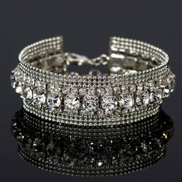 Rhine stone inlaying sliver bracelet Fashion Jewelry Woman Bangle Bracelet,Magnetic clasp High-grade Leather Crystal Stones