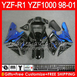 8Gift 23Color Body For YAMAHA YZF 1000 R 1 YZFR1 98 99 00 01 61HM23 blue black YZF1000 YZF R1 YZF-R1000 YZF-R1 1998 1999 2000 2001 Fairing