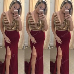 Canada Bling Bling Dark Red Robes de soirée formelle 2017 Encolure plongeante High Split Sheath Robe de bal Real Picture Pageant Longue Long pictures long red evening dresses promotion Offre