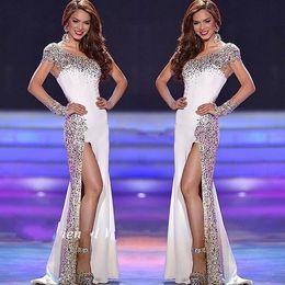 2017 White Bling Beaded Rhinestones Mermaid Prom Dresses One Shoulder Long Sleeves Sexy High Split Evening Dress Abendkleider