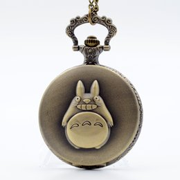 Wholesale My Neighbor Totoro Japanese Animated Film Movie Totoro Dial Quartz Pocket Watch Necklace Men Women Boy Girl Pocket Fob Watch