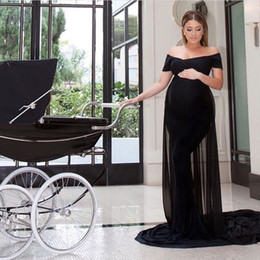 Elegant Maternity Dresses Fitted Long Formal Off Shoulder Black Pregnant Red Carpet Evening Gown Spandex Dress Chiffon Train Custom Made