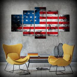Скидка большие отпечатки на холсте 5Pcs / Set Framed HD напечатано американскими звездами Полосы Картины холстины флага Картина гостиной комнаты Большая обрамленная картина стены искусствоа