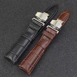 2017 bracelet en cuir véritable Gros-cuir de vache véritable bracelet en cuir bracelet de remplacement boucle de bracelet de papillon 20 mm 2 couleurs abordable bracelet en cuir véritable