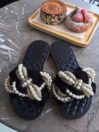 Femmes top perle en Ligne-2017 nouvelles femmes de qualité supérieure de belles sandales de perles plates, femmes slip-on chaussures casual chaussures flats, pantoufles femmes Livraison gratuite