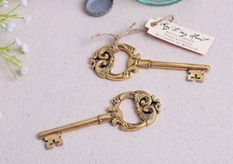"""100pcs lot+Golden Wedding Favors and Gift """"Key to My Heart"""" Antique Gold Wine Bottle Openers Bridal Shower Favor+FREE SHIPPING"""
