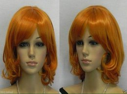 100% Brand New High Quality Fashion Picture full lace wigs>Heat Resistant Cosplay Short Orange Curly Party Women Wig