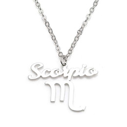 New Scorpio Pendant Necklace 304 Stainless Steel 12 Constellations Necklaces Link Chain Women Charm Jewelry Wholesale Drop Shipping