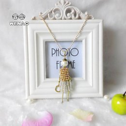 Pendant Necklaces South Korea's New Lady Lovely Doll Creative Tassel Pearl Crystal Long Sweater Chain Wholesale
