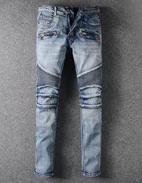 NWT Paris Men's Fashion Runway Stretch Denim Biker Light Blue Jeans Size 28-42