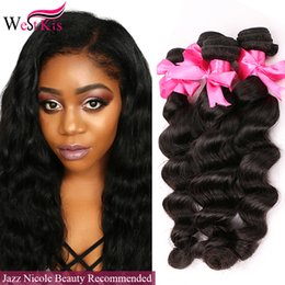 Wholesale Soft Hair Bundles Malibu Dollface Recommand West Kiss Hair Store LOOSE DEEP wave Brazilian Virgin Hair beautiful loose