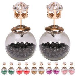Color new 16 - glass ball with rice beads with crown zircon female Earring FZ60
