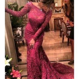 Long Sleeves Mermaid Burgundy Lace Prom Dress Arabic Dubai Evening Dresses Formal Gowns Vestido De Baile