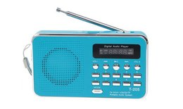 Argentina Venta al por mayor-Nuevo T-205 Mini radio portátil de radio MP3 Radio inteligente de carga Radio HIFI tarjeta SD de apoyo al altavoz con cable USB azul / blanco supplier mini digital charging cable Suministro