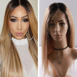 New #1B 27 silky straight Human Hair Full Lace Wigs With Baby Hair Ombre Blonde Hair Lace Front Wig Glueless