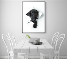 Compra Online Break fotografías-Single Unframed Black Puppy rompió a través de la pintura al óleo de papel en la lona Giclee Wall Art Pintura Art Picture For Home Decorr