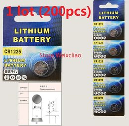200pcs 1 lot CR1225 3V lithium li ion button cell battery CR 1225 3 Volt li-ion coin batteries Free Shipping