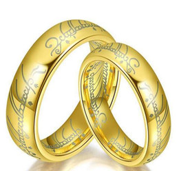 New Lord Of The Rings 18K Gold Silver Plated Jewelry The Hobbit Couple Rings Black Mens Rings Fashion Wedding Hand Jewelry 30pcs
