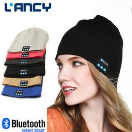 Wholesale NEW Soft Warm men women Beanie Bluetooth Music Hat Cap with Stereo Headphone Headset Speaker Wireless Mic Hands free christmas gift hat