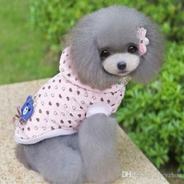 Cute Bear Fleece Cheap Dog Cat Sweater Pink Pet Hooded Jumpsuit With Heart Pattern Pet Coat For Winter Automn 5 Color Min Order 25PCS