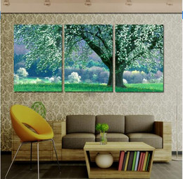 Купить Онлайн Цветковые деревья-Cuadros Decoracion 2016 New Hot имеет три стены искусства: картины цветущее дерево на холсте Набор В комнате я не люблю Вас не Frames