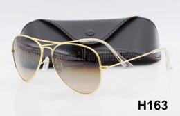 High Quality Metal Gradient Sunglasses For Men Women Designer Sun Glasses Pilot Eyewear Blue 62mm 58mm Glass UV400 Lenses With Box And Case