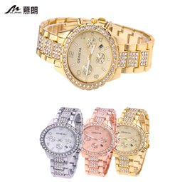 WISH selling Geneva GENEVA fashion ladies diamond three gold calendar watch luxury men's business quartz watch rose gold