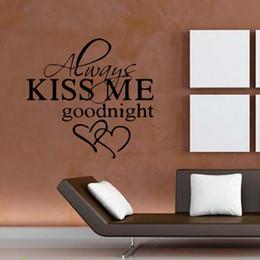 Calcomanías de decoración de la habitación en Línea-Para Siempre Bésame Goodnight Love Quote Wall Stickers Cuarto de estar del dormitorio Art extraíble Decora Decals Diy