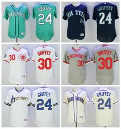 Wholesale Ken Griffey Jr Jersey Cool Base Seattle Mariners Cream Stitched Baseball Jerseys Mix Order