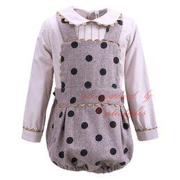 Wholesale Pettigirl Baby Boy Clothing Sets Infant Cotton Blouse Toddler Dot Suspenders Bloomers For Bontique Kids Wear G DMCS908