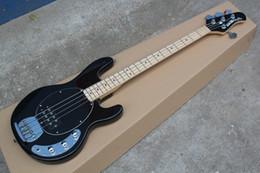 Descuento hombre de raya de música Envío libre Al por mayor-libre del envío de calidad superior del arce de Fretboard de la música de StingRay 4 cuerdas guitarra negra -1411-11