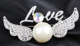 Wholesale The new angel letters brooch South Korea han edition female chain scarves buckle restoring ancient ways Diamond crystal pearl brooch brooche