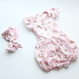 2017 INS Summer babies romper clothes Baby girls Rose Floral PINK fly sleeve romper +bows headbands kids cotton jumpsuit Newborn bodysuit