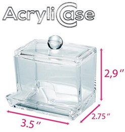 Clear Acrylic Swab Storage Case, Organizer For Cotton Swabs, Q-Tips, Make Up Pads, Cosmetics & More - For Bathroom & Vanity By AcryliCase