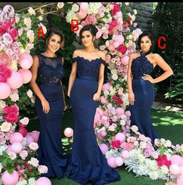 2018 New Design Sexy Country Dark Navy Mermaid Bridesmaid Dresses Off Shoulder Long Maid of Honor Dresses Wedding Guest Party Dress