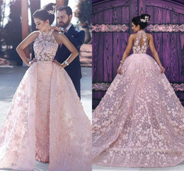 Robe De Soiree Pink Lace Appliques High-Neck Glamorous Illusion Evening Dresses Luxury Detachable Formal Prom Gowns