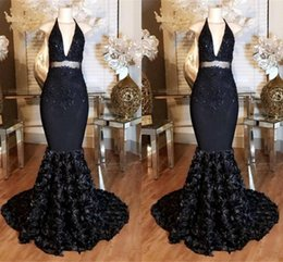 Elegant Black Mermaid Prom Dresses 2017 Deep V Neck Halter Lace Sequins 3D Flowers Long Arabic Dresses Dubai Party Gowns
